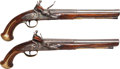 Handguns:Muzzle loading, Scarce Pair of European Flintlock Pistols by Eddenderry....