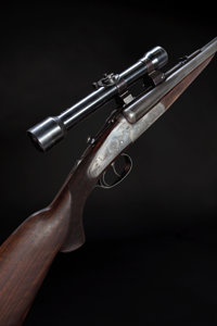 *Cased .375 H&H Magnum Flanged Holland & Holland Number 3 Sidelock Ejector Double Rifle with Telescopic...