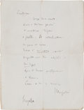 Autographs:Military Figures, Scarce WWII Holgraphic Letter by Italian Dictator BenitoMussolini....