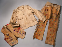 Wild West Show Performer's Three-Piece Buckskin Ensemble, Circa 1890-1905