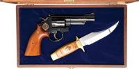 **Cased Smith & Wesson Model 19-3 Commemorative Texas Ranger Revolver and Bowie Knife Ensemble
