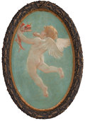 Fine Art - Painting, American:Modern  (1900 1949)  , Attributed to WILLIAM DE LEFTWICH DODGE (American, 1867-1935). APair of Oval Paintings of Cupids from the Grand Salon of ...(Total: 2 Items)