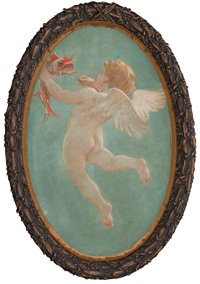 Attributed to WILLIAM DE LEFTWICH DODGE (American, 1867-1935) A Pair of Oval Paintings of Cupids from the Grand
