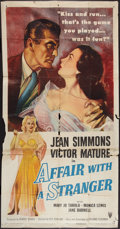 "Movie Posters:Romance, Affair with a Stranger (RKO, 1953). Three Sheet (41"" X 81""). Romance.. ..."