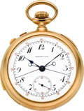 Timepieces:Pocket (post 1900), Tiffany & Co. Gold Five Minute Repeater With Split Chronograph, circa 1905. ...