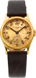 Timepieces:Wristwatch, Patek Philippe Rare Gold 28 MM Screw Back Calatrava, circa 1942. ...