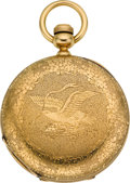 Timepieces:Pocket (pre 1900) , Elgin Early 18k Key Wind, American Eagle Case, circa 1869. ...