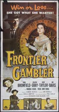 """Frontier Gambler & Other Lot (Associated Film, 1956). Three Sheets (2) (41"""" X 81""""). Western. ... (Total: 2..."""