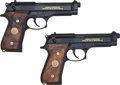 Handguns:Semiautomatic Pistol, Beretta Lot (2)-M9 Limited Edition 9mm Semi-Automatic Pistol With Display Case....