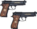 Handguns:Semiautomatic Pistol, Beretta Lot (2)-M9 Limited Edition 9mm Semi-Automatic Pistol w/Display Case....