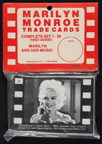 """Marilyn Monroe (NMMM, 1963). Trade Cards (20) (2.5"""" X 3.5"""") & Stand Up Card (3.25"""" X 12"""") ... (T..."""
