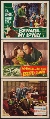 """House of Strangers and Others Lot (20th Century Fox, 1949). Lobby Cards (3) (11"""" X 14""""). Film Noir. ... (Total..."""