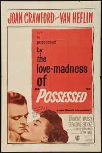 "Possessed (Warner Brothers, 1947). One Sheet (27"" X 41""). Film Noir"