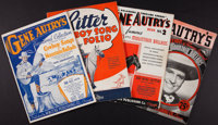 """Gene Autry Songbooks and Other Lot (Various, 1934-1937). Songbooks (4) Softcover (Multiple Pages, 9"""" X 12""""). W..."""