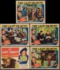 """Movie Posters:Drama, The Lady Objects (Columbia, 1938). Title Lobby Card and Lobby Cards (4) (11"""" X 14""""). Drama.. ... (Total: 5 Items)"""