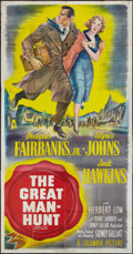 "Movie Posters:Thriller, The Great Manhunt (Columbia, 1950). Three Sheet (41"" X 81""). Thriller.. ..."