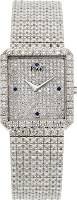 Piaget Protocole Exceptional 18k White Gold Diamond & Sapphire Wristwatch
