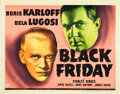"Movie Posters:Horror, Black Friday (Universal, 1940). Title Lobby Card (11"" X 14"").. ..."