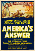"Movie Posters:War, America's Answer (U. S. Army, 1918). One Sheet (27.75"" X 40"").. ..."