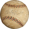 Autographs:Baseballs, 1932 Babe Ruth & Lou Gehrig Signed Baseball Fouled Off by Ruth....