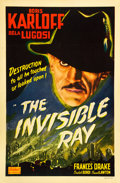 "Movie Posters:Horror, The Invisible Ray (Realart, R-1948). One Sheet (27"" X 41"").. ..."