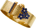 Estate Jewelry:Bracelets, Retro Sapphire, Diamond, Gold Bracelet. ...