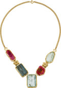 Estate Jewelry:Necklaces, Aquamarine, Tourmaline, Gold Necklace. ...