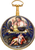 Timepieces:Pocket (pre 1900) , Philippe Terrot Superb Enamel & Gold Quarter Repeating Verge Fusee, circa 1780. ...