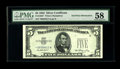 Error Notes:Obstruction Errors, Fr. 1655* $5 1953 Silver Certificate. PMG Choice About Unc 58..This is a neat error on an early replacement note on which a...