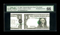 Error Notes:Major Errors, Fr. 1921-D $1 1995 Federal Reserve Note. PMG Gem Uncirculated 66..This is a great misalignment that is among the finest kno...