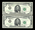 Error Notes:Major Errors, Fr. 1967-K $5 1963 Federal Reserve Notes. Two Consecutive Examples.Gem Crisp Uncirculated.. These two notes illustrate an o...