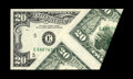 Error Notes:Major Errors, Fr. 2074-E $20 1981A Federal Reserve Note. Gem Crisp Uncirculated..This is another wild cutting error. A large appendage of...
