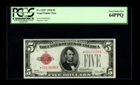 Fr. 1525* $5 1928 Legal Tender Note. PCGS Very Choice New 64PPQ. Bright and attractive, but held from the gem grade by a...