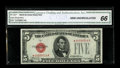 Small Size:Legal Tender Notes, Fr. 1527* $5 1928B Legal Tender Note. CGA Gem Uncirculated 66.. This Red Seal star is a condition rarity to be sure. While ...