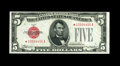 Fr. 1527* $5 1928B Legal Tender Note. Choice About Uncirculated. Original paper surfaces and embossing are highlights of...