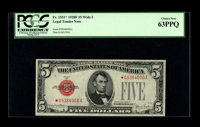 Fr. 1531* $5 1928F Wide I Legal Tender Note. PCGS Choice New 63PPQ. A nice replacement note that is crisp and bright. Fr...