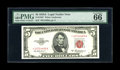 Small Size:Legal Tender Notes, Fr. 1533* $5 1953A Legal Tender Star Note. PMG Gem Uncirculated 66 EPQ.. PMG has bestowed the lofty 66 EPQ grade to this gor...
