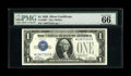Small Size:Silver Certificates, Fr. 1600* $1 1928 Silver Certificate. PMG Gem Uncirculated 66 EPQ.. This scarce star has Superb quality margins and paper qu...