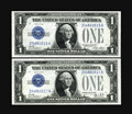 Small Size:Silver Certificates, Fr. 1601/Fr. 1602 $1 1928A/1928B Silver Certificates. Changeover Pair. Gem Crisp Uncirculated.. Original surfaces and emboss... (Total: 2 notes)