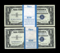Small Size:Silver Certificates, Fr. 1621 $1 1957B Silver Certificates. Two Original Packs of 100. Gem Crisp Uncirculated.. These wide-margined packs are wel... (Total: 200 notes)