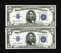 Small Size:Silver Certificates, Fr. 1651/1650 $5 1934A/1934 Silver Certificates. Reverse Changeover Pair. Gem Crisp Uncirculated.. This duo is boldly emboss... (Total: 2 notes)