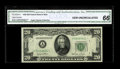 Small Size:Federal Reserve Notes, Fr. 2059-A* $20 1950 Federal Reserve Note. CGA Gem Uncirculated 66.. Yet another FRN star from the Taylor Sale which appears...