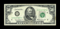 Fr. 2116-E $50 1969B Federal Reserve Note. Extremely Fine. This is a clean, lightly circulated example form the tougher...