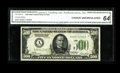 Small Size:Federal Reserve Notes, Fr. 2200-A $500 1928 Federal Reserve Note. CGA Choice Uncirculated 64.. A prize rarity that cannot be understated. The Tayl...