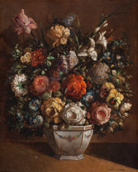 MARTINEZ ANDRES (American, 20th Century) Still Life with Flowers Oil on canvas 19-1/2 x 15 inche