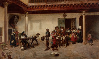 JOAQUIN ARAUJO Y RUANO (Spanish, 1851-1894) Peasant Street Scene, 1878 Oil on canvas 36 x 58 inc