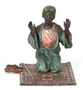 Sculpture, FRANZ XAVIER BERGMAN (AUSTRIA 1861-1936) COLD PAINTED FIGURAL BRONZE: ROBED ARAB ON PRAYER RUG WITH SHOES TO SIDE . ...