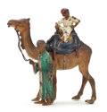Paintings, ATTRIBUTED TO FRANZ XAVIER BERGMAN (AUSTRIA 1861-1936) COLD PAINTED FIGURAL BRONZE: BOY UPON CAMEL WITH ROBED MAN LEADI...