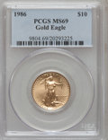 Modern Bullion Coins: , 1986 G$10 Quarter-Ounce Gold Eagle MS69 PCGS. PCGS Population(1788/25). NGC Census: (7468/140). Mintage: 726,031. Numismed...