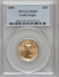 Modern Bullion Coins: , 1989 G$10 Quarter-Ounce Gold Eagle MS69 PCGS. PCGS Population(1255/40). NGC Census: (925/26). Mintage: 81,789. Numismedia ...
